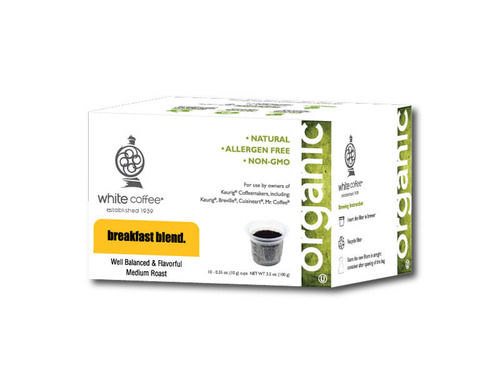 "Specialty food trade magazine, The Gourmet Retailer, has chosen White Coffee's ""Organic Naturals Single Serve Cups"" as one of the best new products of the year for 2013. Organic Naturals Single Serve Cups are available in retail outlets throughout the United States, on-line at www.whitecoffee.com or call (800) 221-0140 for more information.  (PRNewsFoto/White Coffee Corporation)"