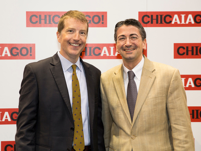 SCAD School of Building Arts Dean Christian Sottile, the recipient of the AIA Young Architects Award, with Martin Smith, SCAD Executive Director of Design and New Construction, at the AIA Convention in Chicago. Smith was instrumental in the revitalization of SCAD Museum of Art, the recipient of the 2014 AIA National Honor Award for Architecture. (PRNewsFoto/SCAD)