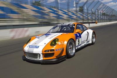 Porsche's GT3 R Hybrid race car. (PRNewsFoto/Porsche Cars North America, Inc., Achim Hartmann)