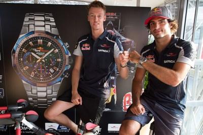 The drivers Daniil Kvyat and Carlos Sainz of Scuderia Toro Rosso during the presentation of the new EDIFICE Scuderia Toro Rosso Limited Edition EFR-554TR (PRNewsFoto/Casio)