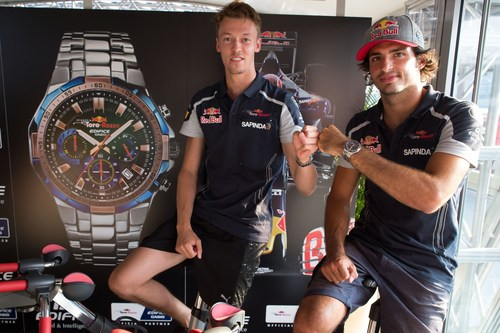 The drivers Daniil Kvyat and Carlos Sainz of Scuderia Toro Rosso during the presentation of the new EDIFICE Scuderia Toro Rosso Limited Edition EFR-554TR (PRNewsFoto/Casio)