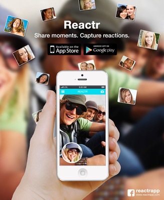 Reactr: Share moments. Capture reactions. Available for free on App Store and Google Play.  (PRNewsFoto/Eyepinch, Inc.)