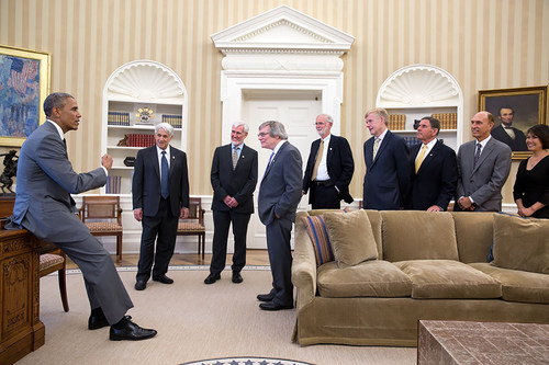 President Barack Obama greets the 2014 Kavli Prize laureates in the Oval Office, July 31, 2014.(Official White ...