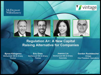Special video presentation / Regulation A+: A New Capital Raising Alternative for Companies Exclusive McDermott, Will & Emery / Vintage event.  Watch now: https://e.prnewswire.com/mcdermott-vintage-rega-video.html
