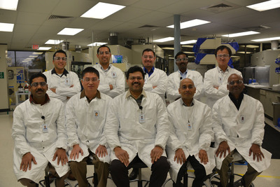 Life Technologies research team awarded 2013 Presidential Green Chemistry Challenge Award. Starting from Left row (sitting): Dr. Srinivasan Balasubramanian, Dr. Xiao Zejun, Dr. Kore Anilkumar, Dr. Halasyam Mohan, and Dr. Charles Irudaya. Left row (standing): Mr. Padilla Matthew, Mr. Navarro Alex, Dr. Garcia Israel, Dr. Muthian Shanmugasundaram, and Dr. Yang Bo. (PRNewsFoto/Life Technologies Corporation) (PRNewsFoto/LIFE TECHNOLOGIES CORPORATION)
