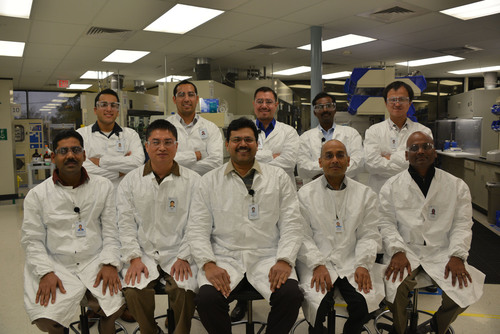 Life Technologies research team awarded 2013 Presidential Green Chemistry Challenge Award.  Starting from Left row (sitting): Dr. Srinivasan Balasubramanian, Dr. Xiao Zejun, Dr. Kore Anilkumar, Dr. Halasyam Mohan, and Dr. Charles Irudaya. Left row (standing): Mr. Padilla Matthew, Mr. Navarro  Alex, Dr. Garcia Israel, Dr. Muthian Shanmugasundaram, and Dr. Yang Bo.  (PRNewsFoto/Life Technologies Corporation)