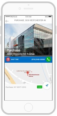 In the mobile app, users can see ER wait times for specific locations.