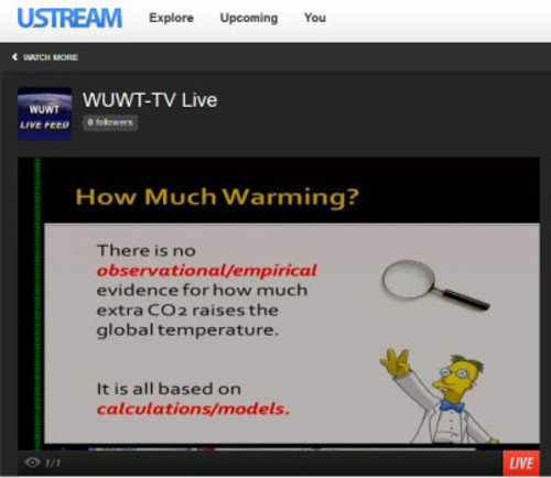 An example of a presentation from WUWT-TV Live webcast.  (PRNewsFoto/WUWT-TV)