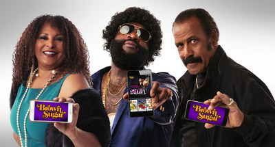 """The biggest collection of the baddest African-American movies of all-time have a new subscription-video-on-demand streaming home with the launch of Brown Sugar, which features an extensive library of iconic black movies, all un-edited and commercial-free as they were originally seen in theaters. Pam Grier (Left), Fred """"The Hammer"""" Williamson (Right) and rap artist and producer Rick Ross (Center) are official ambassadors for Brown Sugar, now available for mobile phones and tablets in the Google Play Store..."""