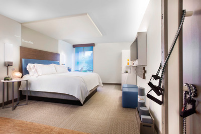 EVEN Hotel Norwalk Guest Room and In-Room Training Zone.