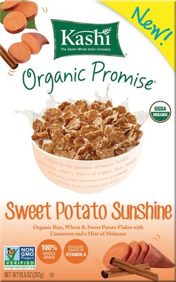 Kashi's Organic Promise Sweet Potato Sunshine delivers the nutritional power of superfood sweet potatoes to a satisfyingly delicious whole-grain flake cereal.