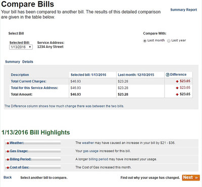 SoCalGas' Compare Bills tool within My Account at socalgas.com shows customers the factors that can affect their bills--weather, usage, billing period and natural gas cost.