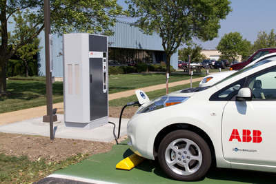 Fast charging the Nissan Leaf.  (PRNewsFoto/ABB)