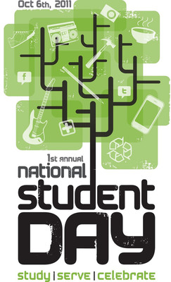 Official National Student Day logo that was selected by a panel of 18,000 college students from more than 1,100 campuses across North America.  (PRNewsFoto/National Association of College Stores)