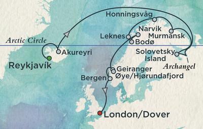 White Sea Exploration Route - Reykjavik to London on Crystal Symphony
