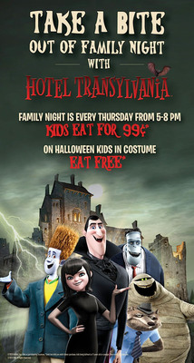 Celebrate the one year anniversary of Family Night at Ryan's, HomeTown Buffet, and Old Country Buffet throughout October with free Hotel Transylvania-themed activities, coupons and online giveaways. Visit any of the 333 buffet restaurants on Halloween between 5 and 8 p.m., when costumed kids eat for free.  (PRNewsFoto/Buffets, Inc.)