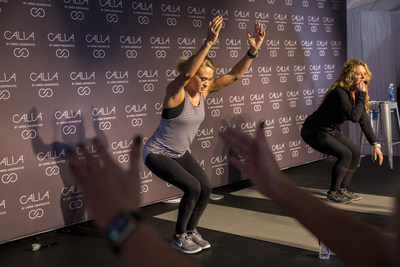 Multi-platinum superstar and CALIA lead designer Carrie Underwood and her road trainer Eve Overland, lead a Carrie-inspired workout with local Houston media and influencers at the DICK'S Sporting Goods Grand Opening Celebration at Baybrook Mall in Friendswood, TX on October 21, 2016.  (Photo by Scott Dalton/Invision for DICK'S Sporting Goods/AP Images)