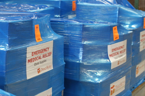 Ebola Response: Emergency Medical Supplies Packed for West Africa by Direct Relief. (PRNewsFoto/Direct Relief) ...