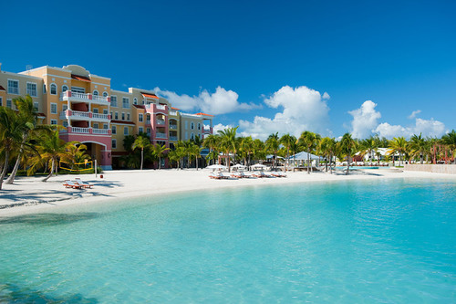 The azure water and white sand beach at Turks and Caicos' Blue Haven Resort and Marina, the first ...