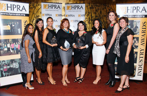 HPRA honors Hispanic market leaders at the 28th Annual PRemio Awards & Scholarship Gala. From left to right: Jacqueline Aker, Vice President/President Elect, HPRA-L.A. (Edelman); Delia L. Lopez, President, HPRA-L.A. (Communications Consultant); Lucia Matthews, DIALOGO (PR Professional of the Year); Pilar Marrero, senior political writer, La Opinion (Journalist of the Year); Cynthia Cruz, iolo technologies (Young PR Professional of the Year); Veronica Potes and Mayola Delgado, Univision (Corporation of the Year); Leslie Smith, Secretary, ...
