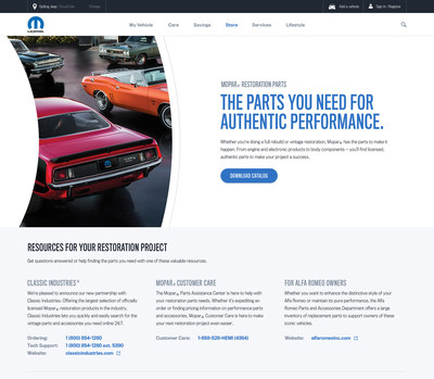 Mopar announced at the SEMA Show in Las Vegas a new restoration parts web resource, www.Mopar.com/restoration, which will help connect enthusiasts with more than 45 approved Mopar restoration parts licensees and more than 9,000 products to assist in restoring muscle-car era glory.