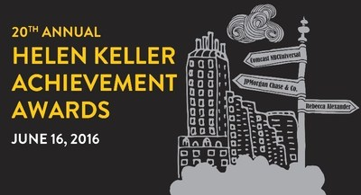 The logo for the 20th Annual Helen Keller Achievement Awards, featuring a Central Park cityscape and signposts with the names of awardees Comcast NBC Universal, JP Morgan Chase & Co, and Rebecca Alexander