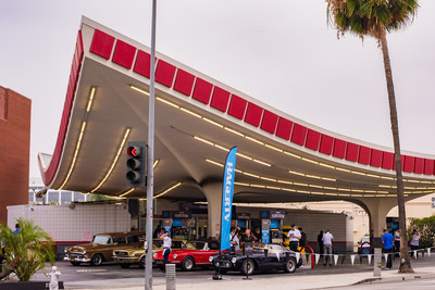 Hagerty vintage gas station event celebrating National Collector Car Appreciation Day at the iconic 76 Gas Station in Beverly Hills, CA.