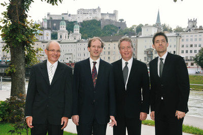 After the New Year's Concert contract signing in Salzburg (from left to right): Dr. Mario Karwan (Treasurer, Vienna Philharmonic), Prof. Dr. Clemens Hellsberg (Chairman, Vienna Philharmonic), Rolf Schmidt-Holtz (CEO, Sony Music Entertainment), Bogdan Roscic (President, Sony Classical).  (PRNewsFoto/Sony Classical)