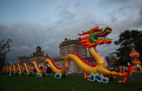 In the light of day, the sheer scale of the Chinese dragon can be seen with Longleat in the background