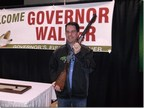 Wisconsin Governor Scott Walker with the Wisconsin-made Henry Big Boy Steel .44 Magnum rifle he was presented with at the 50th Annual Governor's Fishing Opener on May 1, 2015.