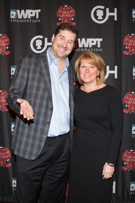 "Pictured at The Children's Hospital of Philadelphia and WPT Foundation's ""All In"" for Kids Poker Tournament are Madeline Bell, CHOP president and CEO, and legend Phil Hellmuth, Jr., poker legend."
