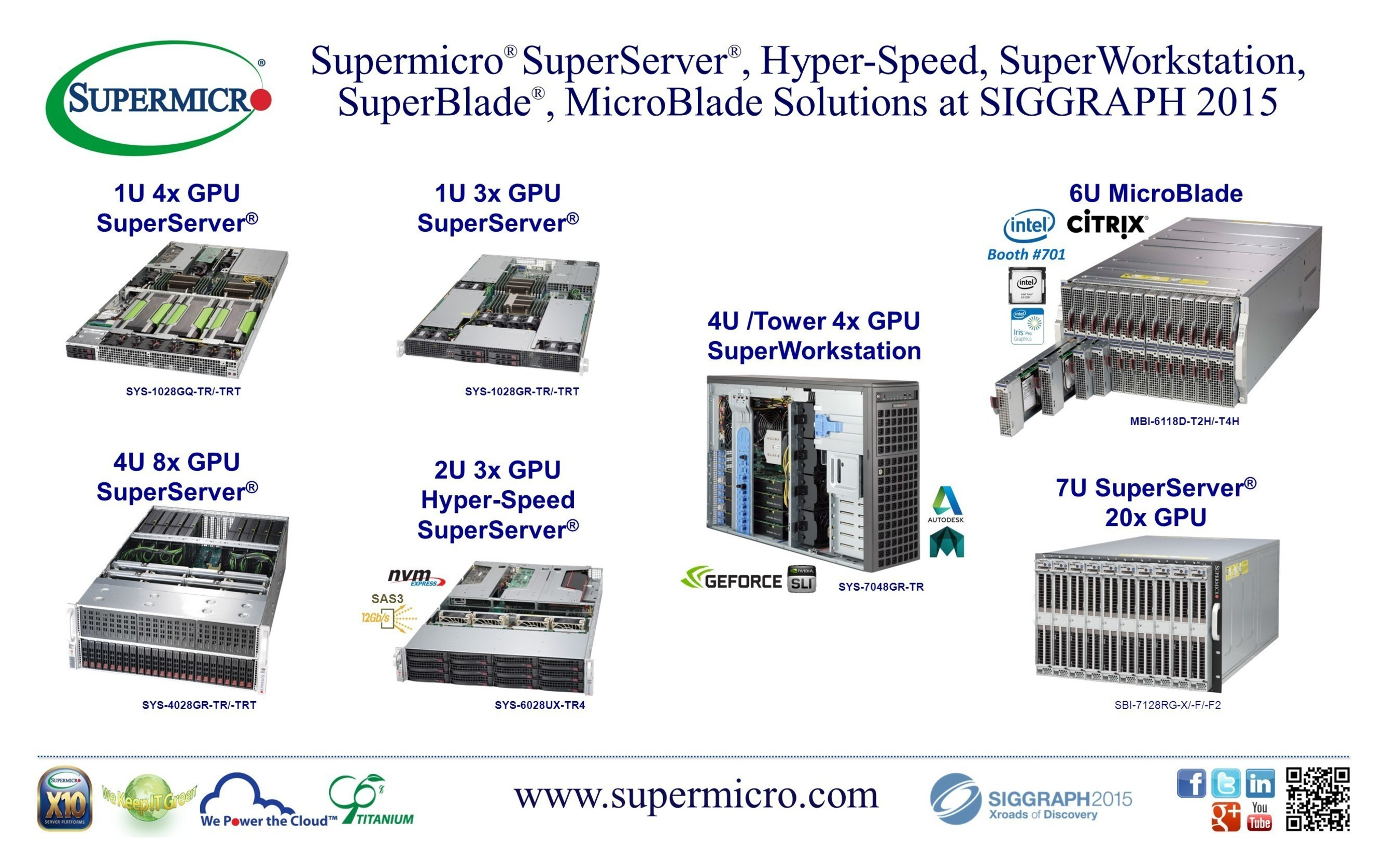 Supermicro' Showcases 1U 4x GPU SuperServer' and 3U/6U MicroBlade for 3D Graphics, Video, and Visualization Applications at SIGGRAPH 2015