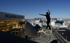 Slackline daredevil Andy Lewis breaks urban highline world record in Las Vegas.  (PRNewsFoto/Cirque du Soleil, Gibbon Slacklines, MGM)