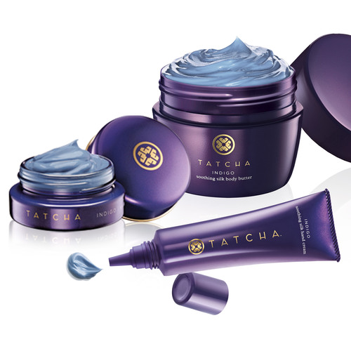 TATCHA's new INDIGO collection includes the soothing renewal treatment, $98, soothing silk body butter, $48, and soothing silk hand cream, $38. Each contains natural Japanese Indigo extract as well as TATCHA's proprietary HADASEI-3 complex a blend of Green Tea DNA, Okinawa Red Algae and Rice Bran extracts to soothe and hydrate dry skin. (PRNewsFoto/TATCHA) (PRNewsFoto/TATCHA)