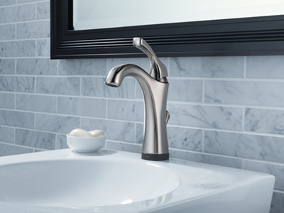 Delta® bathroom faucets featuring Touch2O® and Touch2O.xt™ Technology are WaterSense labeled, which means they use 32 percent less water than the industry standard and perform as well or better than their less efficient counterparts.