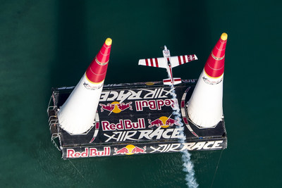 A pilot flies through a pylon in the Red Bull Air Race World Championship.