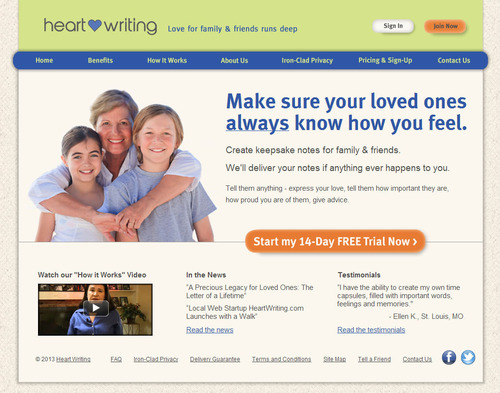 home page screen shot. (PRNewsFoto/HeartWriting.com) (PRNewsFoto/HEARTWRITING.COM)