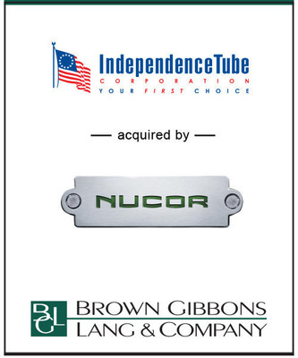 BGL is pleased to announce the sale of Independence Tube Corporation (ITC) to Nucor Corporation in a $435 million transaction. ITC is a leading manufacturer of hollow steel tubing used in a broad array of structural and mechanical applications including nonresidential construction, infrastructure, and agricultural and construction equipment end markets.