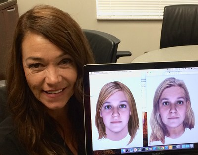 """Cold Justice"" host Yolanda McClary with her Snapshot prediction at age 25 (left) and age 49 (right)."