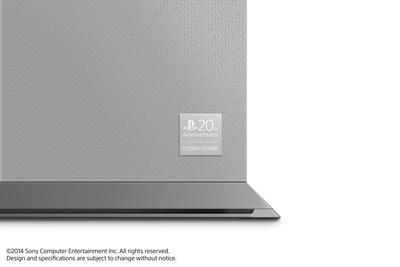 "Sony Computer Entertainment announced the ""PlayStation 4 20th Anniversary Edition"" commemorating the 20th anniversary of the original PlayStation on Dec. 3, 1994. Pictured is a close-up of the limited edition PS4 , which on the front side has a special embossment and a plate on the lower right-hand corner that's inscribed with a different number from 1 through 12,300. Only 12,300 units will be available worldwide."