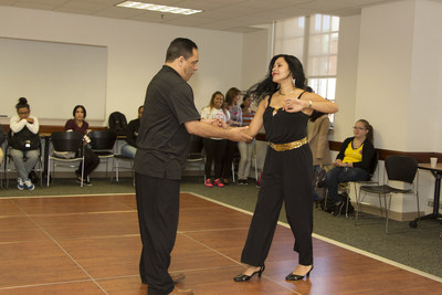 BHCC students celebrate Hispanic Heritage Month with salsa dance lessons.