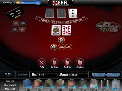 SHFL's Online Social Version of Mississippi Stud Poker.  (PRNewsFoto/SHFL entertainment, Inc.)