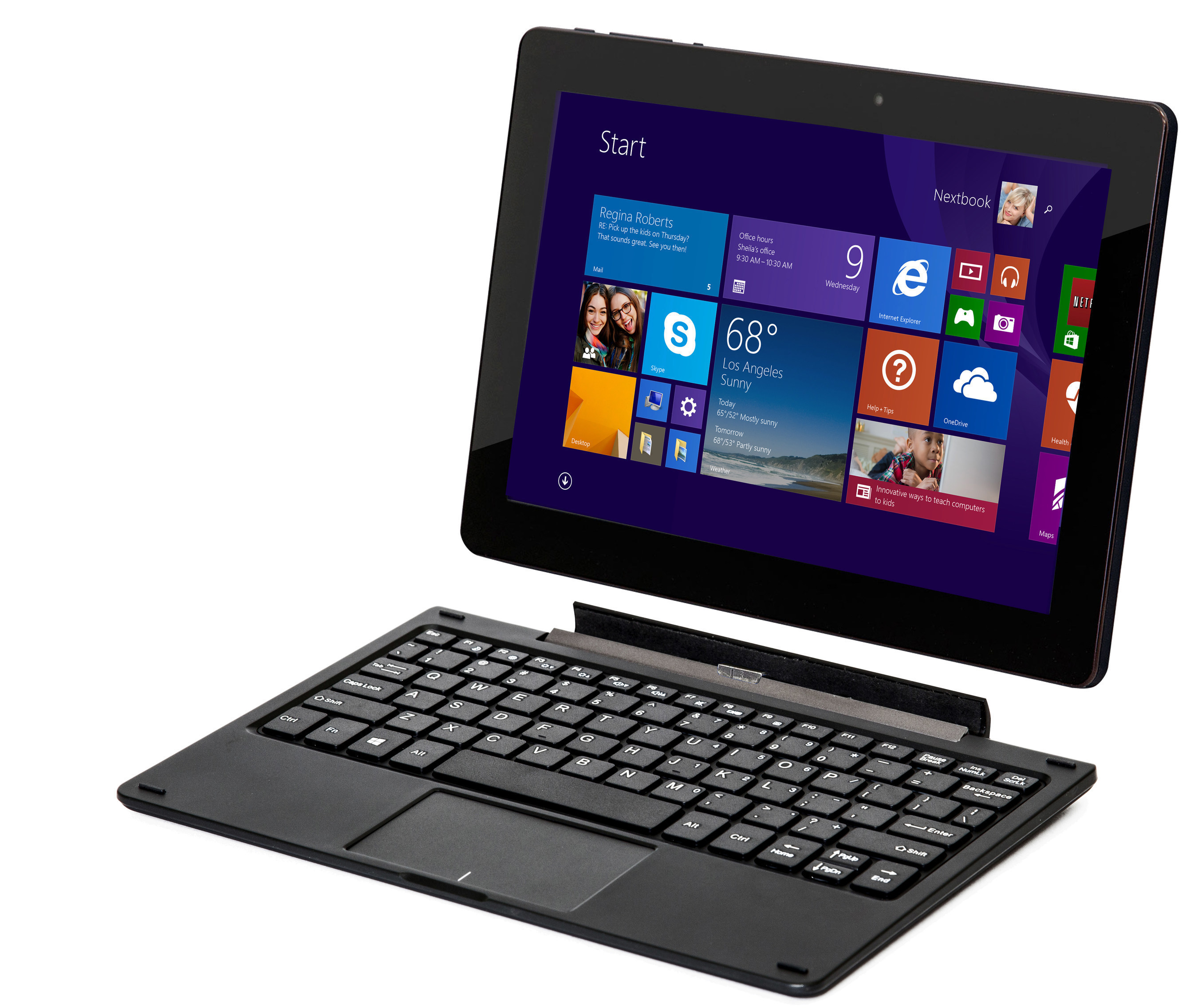The Nextbook 10 Windows 2-in-1 tablet with detachable keyboard is available now for $219.99.