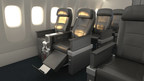 American Airlines Premium Economy seats with bulkhead footrest extended.