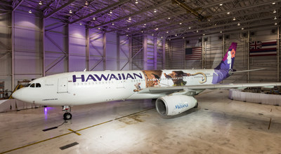 "Hawaiian Airlines today revealed the first of three ""Moana""-themed planes at its home base at Honolulu International Airport (HNL)."