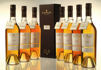 Beginning this fall, the House of CAMUS will offer eight Vintage Cognacs - 1964, 1970, 1971, 1974, 1980, 1988, 1989 and the exclusive Pionneau 1969.  (PRNewsFoto/CAMUS Cognac)