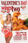 Hooters Valentine's Day Special - Boneless  Wings for 2 for $9.99.  (PRNewsFoto/Hooters of America, LLC)