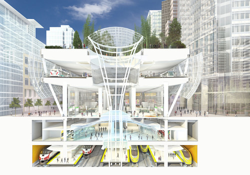 A section shows the levels of the Transbay Transit Center. Starting from the top is the Park, Bus Deck, Grand Hall, Lower Concourse, and Train Platform. Designed by Pelli Clarke Pelli Architects, the Transbay Transit Center will be the new multi-modal transportation hub for San Francisco. The building is scheduled to open in 2017. Courtesy of Pelli Clarke Pelli Architects. (PRNewsFoto/Pelli Clarke Pelli Architects)