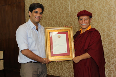 Arjun Pandey Being Appointed Head of Live to Love India by His Holiness the Gyalwang Drukpa, Spiritual Head of Drukpa Buddhists