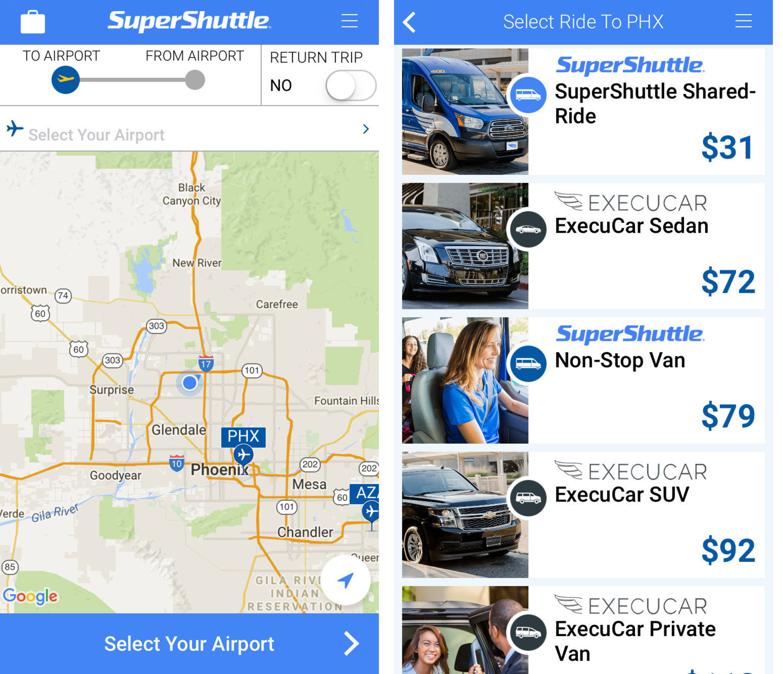 SuperShuttle app is easy to use and earns passengers double airline miles and points all Summer long. See the SuperShuttle Summer Sale for more information.